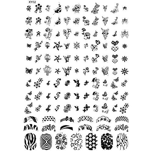 GOTTING Nail Stamping Plates Halloween-Nagel-Kunst-Stempel-Schablone Geist-Schläger Blumen Bild Stempelplatte