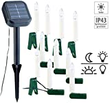 Lunartec Solar Weihnachtsbaum: Solar-Lichterkette für Außen mit 10 flackernden LED-Kerzen (Weinachtsbeleuchtung)