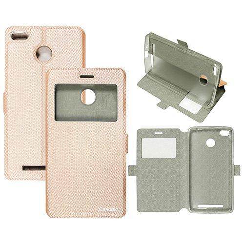 Casotec Premium Kickstand Caller-id Flip Case Cover with Snap Button Closure for Xiaomi Redmi 3S Prime - Gold