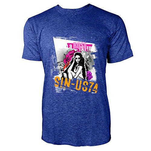 SINUS ART® Frau mit Sonnenbrille und Pop Art Hintergrund Herren T-Shirts in Vintage Blau Cooles Fun Shirt mit tollen Aufdruck
