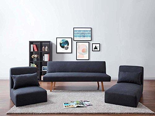 Sofa convertible Compilo - 2 plazas- Gris oscuro