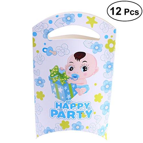 STOBOK Box Süßigkeiten Papier Blau für Taufe Geburtstag Kinder 12 Stück