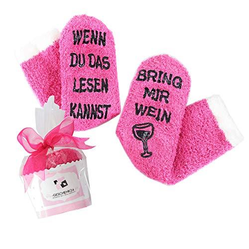 [Wein-Socken Classic] WENN DU DAS LESEN KANNST, BRING MIR WEIN, witziges Geschenk für Frauen❤️ in Muffin-Verpackung, Geburtstags-geschenke, Wein-Zubehör (if you can read this, bring me wine) Rosa