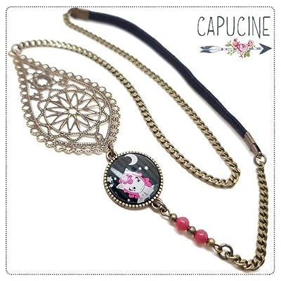 Headband avec Cabochon Verre Licorne Gris et Rose, Estampe et Chaîne Bronze, Accessoire Cheveux avec Élastique