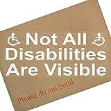 Not All Disabilities Are Visible, adesivo vinilico per vetro d'auto con logo disabili e scritta in inglese