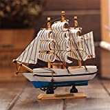 #3: Jaycoknit Mini Mediterranean Sea's Lucky Wooden Handcrafted Ship Home Decor Showpiece-13 cm