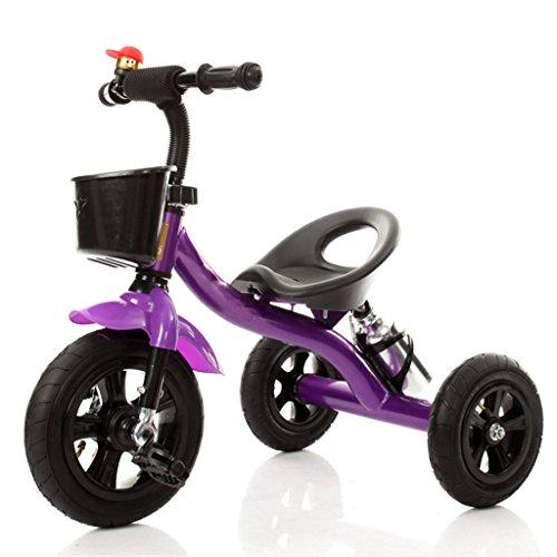 QWM-Baby bicyclettes enfants Tricycle Baby Carriage Bike Enfant Toy Car Inflatable Wheel / foam Wheel Bicycle Convient pour 1-2-3-4 ans (garçon / fille), pourpre Cadeau pour enfants