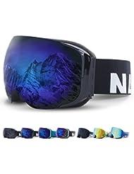 Skibrille mit Magnet-Wechselsystem von NAKED Optics, Verspiegelt, Rahmenlos, 100% UV-Schutz, Wintersport-Brille mit tauschbarem Glas, Für Damen und Herren + Gratis Brillen-Etui
