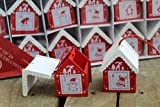 24 Wooden Birdhouse Style Christmas House Advent Calendar Decorations