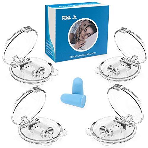 Schnarchstopper,Nasenklammer Nasenspreizer, 2020 Neue Ausgabe Premium Schnarch Stopper mit Magnet aus Medizinisches Material BPA-Frei Sofortige Anti Schnarch Hilfe inkl. Transportbox(4+1Stück)