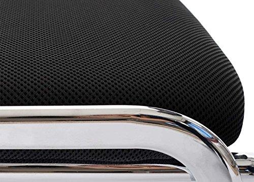 Mendler 4x Besucherstuhl T401, Konferenzstuhl stapelbar, Textil ~ Sitz schwarz, Füße chrom - 4