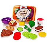 Milly & Ted Dinner Basket Soft Play Food Set - Childrens Pretend Kitchen Toy