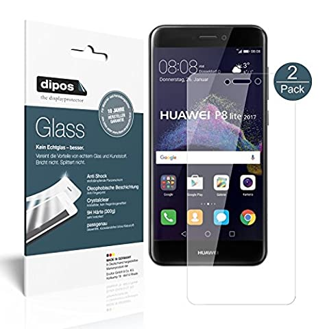 Huawei P8 Lite 2017 Schutzfolie - 2x dipos Glass Panzerfolie 9H Folie Kunststoffglas