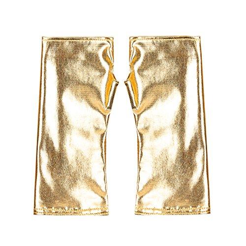 iiniim Women s Shiny PVC Leather Half Fingerless Thumb Hole Mini Gloves Costumes Gold One Size