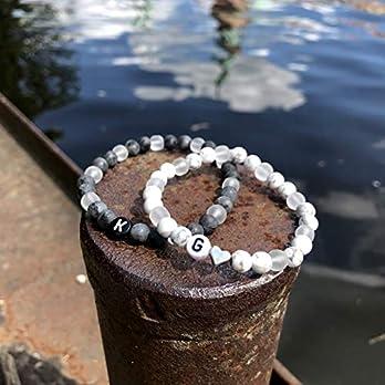 Partnerarmbänder | Freundschaftsarmbänder | -personalisiert -, grau & weiß marmorierte Natursteinperlen + milchig…