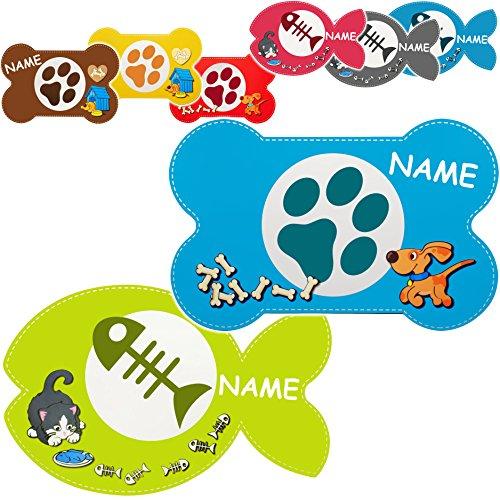 """2 Stück _ Haustier Unterlagen / Platzdeckchen - """" Katzen & Hunde - bunter Farbmix """" - inkl. Name - 44 cm * 29 cm - wasserfest - abwischbar & abwaschbar / biegbar - Napfunterlagen / Platzmatten / Tier - Futtermatten - groß - Hund & Katze - Platzset - Haustiere - Kätzchen Haustier - Kater / Miezekatze - Hund Kunststoff - Plastik - Kunststoffunterlagen / Plastikunterlagen - Füttermatten / Fütterunterlagen - Futternapfunterlagen - Tierfutter - Futterunterlage - Haustiernapf"""
