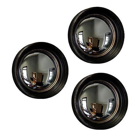 Lot de 3 miroirs ronds convexes grand angle avec cadre noir et doré de 35,6 cm