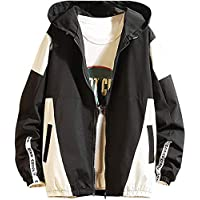 Men's Front-Zip Jacket Pullover Hooded Waterproof Lightweight Windbreaker Jackets Wind&Water-Resistant Rain Jacket,Black,Medium