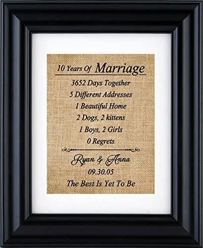 Tenth Wedding Anniversary Gift Ideas For Him: 10th Anniversary Gift, Personalized Anniversary Gift