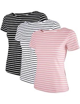 HENCY Maglietta Donna a Manica Corta Maglia a Righe Donna Variegata Scollo a Barca Scollo Rontondo Top T-Shirt...