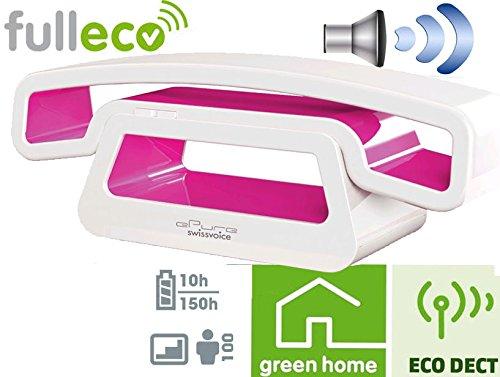 Swissvoice ePure Desing schnurloses Telefon in weiss/pink / Strahlungsarm / ECO DECT / Freisprechfunktion / Wecker