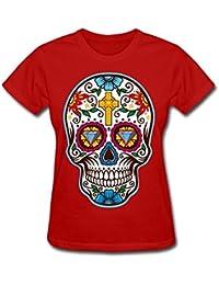 t shirts De la Mujer Gran azúcar Calavera Mexicana para el día de los Muertos Camiseta