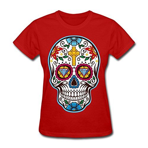 Flügel-mädchen-tee (Frauen 'S Big Sugar Skull Mexikanischer Tag der Toten T-Shirt, Dia de los Tee 074, Mädchen damen Kinder, rot)