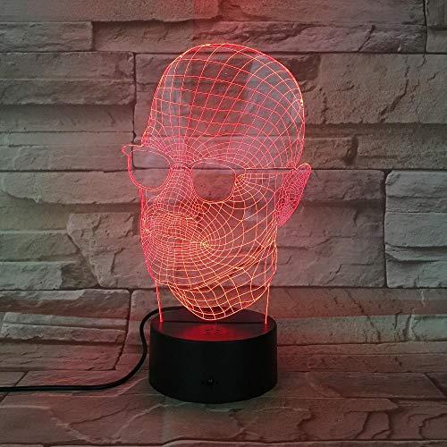 3d lampe usb power 7 farben erstaunliche optische täuschung männlich mit sonnenbrille led lampe für kinder schlafzimmer weihnachtsgeschenk