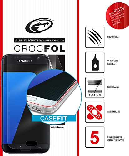 Samsung Galaxy S7 Edge Schutzfolie - CASEFIT Variante - Abdeckung der halben Rundung - kein Ablösen bei Verwendung von Schutzhüllen, Panzer-Folie, Ultraklarer Kratzschutz mit Anti-Shock, CROCFOL PLUS EDGE HD, DIE-FOLIE, kein Panzer-Glas Schutz-Glas oder Hart-Glas - besser, 2-Pack für das Original Samsung Galaxy S7 Edge, Hergestellt in Deutschland