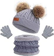 Gorro de Punto Invierno Térmico con Guantes y Bufanda Forro Polar Niños Set Beanie Gorro Sombrero de Punto Inv