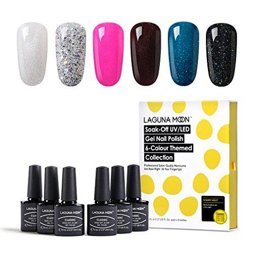 Lagunamoon UV LED ablösbarer Nagellack Gellack Set nail Gel Polish für Nageldesign-Nacht 6 Farbe Geschenk Set 8ml