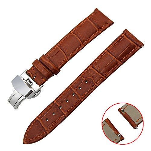 TRUMiRR 20mm Schnellwechsel Armband Echtlederarmband mit Schmetterlingsschnalle für Samsung Gear S2 Classic R732 / R735, Moto 360 2 42mm Herren, Pebble Zeit rund 20mm, Bradley Uhren, Garmin Vivomove