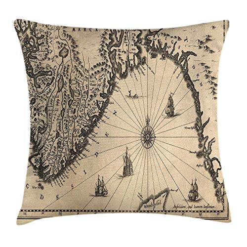World Map Throw Pillow Cushion Cover, Ancient Map of Southern Part of the Norway Vikings World Old Scandinavian Land, Decorative Square Accent Pillow Case, 18 X 18 Inches, Cream Grey