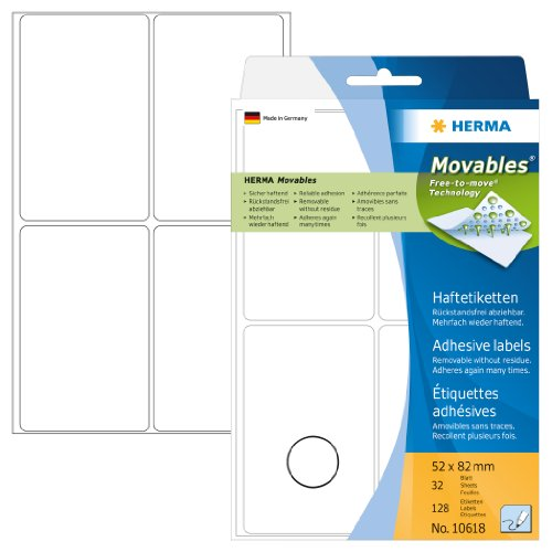 Herma 10618 Vielzwecketiketten ablösbar ohne Klebe-Rückstände (52 x 82mm, Movables, Papier matt) 128 Stück auf 32 Blatt, weiß, Handbeschriftung