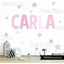 StarStick - Vinilos niño con nombre personalizado - Combinación Rosa nombre con estrellas