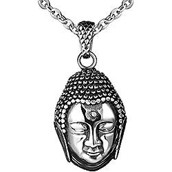 feilok clásico colgante de acero inoxidable cabeza de Buda Budismo Collar Collar colgante para hombre
