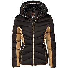 Chaqueta de invierno para mujer (con interior de pelo corto, acolchado, cuello de imitación de piel, relleno de plumón), color dorado