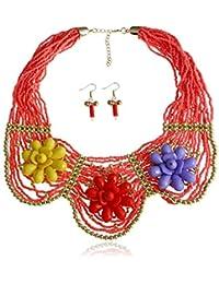 744df0c8a31e LINDANIG Collar de Flores Rojas Hechas a Mano de Moda de Las Mujeres  Pendientes de joyería Negro Corto Mi Zhu…