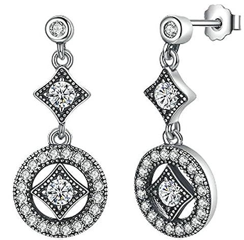 SaySure- 925 Sterling Silver Vintage Allure Hanging Dangle Earrings