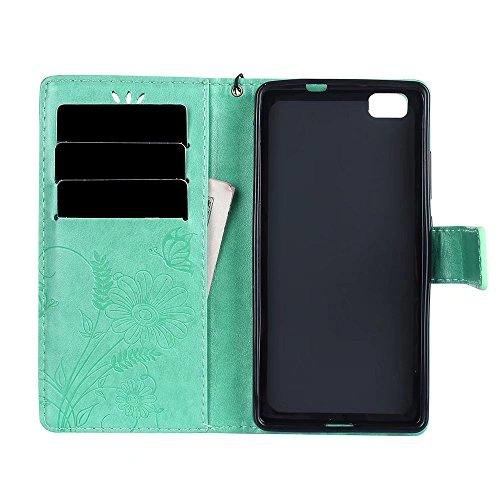 Horizontale Bookstyle Flip Case Premium PU Ledertasche, Solid Color Embossed Blumen Schutzbrieftasche Case Cover mit Lanyard & Stand für Huawei P8 Mini (P8 Lite) ( Color : Modena ) Green