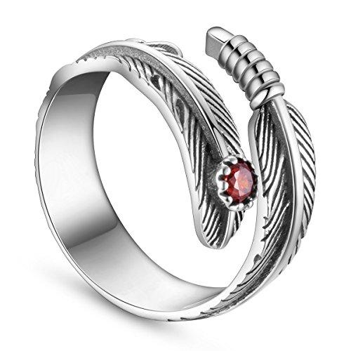 Sweetiee anillos mujer 925 plata de ley, Pluma con circonita roja, plata,18mm