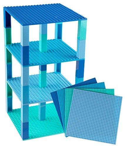 """Stapelbare Premium-Bauplatten - inkl. neuen verbesserten 2x2-Bausteinen - kompatibel mit allen großen Marken - geeignet für Turm-Konstruktionen - Set aus 4 Platten - je 6"""" x 6"""" (15,2 x 15,2 cm) - Blau, Türkis, Grünblau, Himmelblau"""