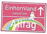 EINHORN Schild XL, Extra Groß (42x28 cm), entfliehe der Realität vom Alltag ins Einhornland Ortsschild als Türschild, Wand-Dekoration für Mädchenzimmer, Mädelswohnung, Mädels-WG, Geschenkidee