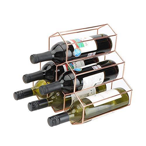 Weinregal-Verkaufsregal Aufsatz- Weinregal - 6 Flaschen Wein-Halter for die Weinlagerung Modern Metall Weinregal - Weinregale Aufsatz- - Kleines Weinregal und Weinflaschenhalter - Tabletop Wine Rack