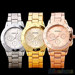 Women Ladies Mens Geneva Rhinestone Dial Alloy Analog Quartz Wrist Watch 4SQX