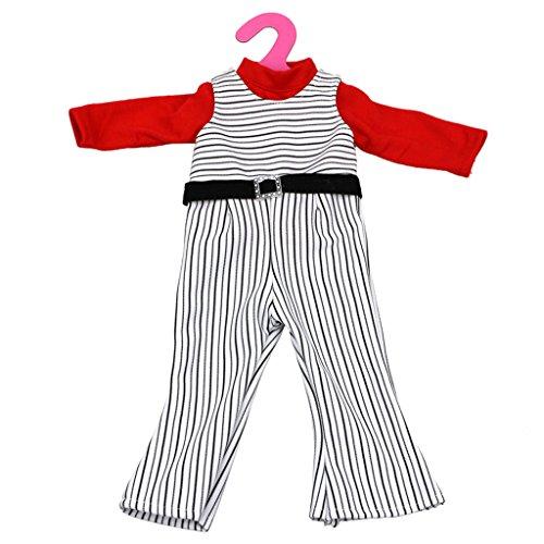 MagiDeal Mode Striped Overalls Hosen + Rot Langarm Shirts Top Kleidung Set für 18 Zoll Mädchen Puppe