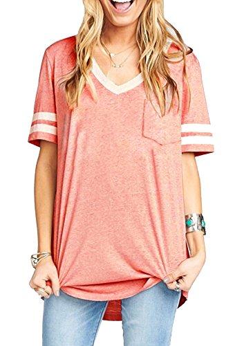 Quceyu Women T Shirt Tops Summer Casual Cotton V-Neck Short Sleeve Sport Top