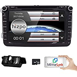 HIZPO 8 inch Double Din In Dash Car Stereo for VW Volkswagen Golf Passat Polo Jetta Tiguan EOS Touran Scirocco Skoda Seat with DVD Player Multimedia System Support GPS Navigation USB SD FM AM RDS Radio Bluetooth Wheel Control Reverse Camera