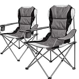 Lot de 2 chaise pliante campingsessel fauteuil pliant de camping pliable avec - Chaise de camping pliante carrefour ...