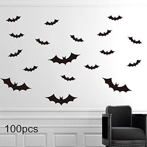 RSSZL Halloween Fledermaus Wandtattoo Party Decor 3D Deko Fledermäuse Kürbis Laterne Hexe Wand Aufkleber Wandtattoo Halloween Eve Kinder Room Decor Flat Bats